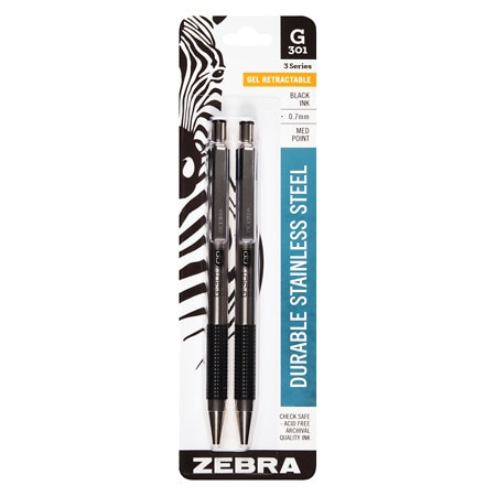 Zebra G-301 Gel Retractable Medium Point Black Ink Pen