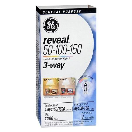 Ge Reveal Light Bulb 50 100 150 Watt 3 Way General Purpose Walgreens