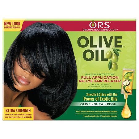 Organic Root Stimulator Olive Oil Built-In Protection No-Lye Hair Relaxer System Extra Strength