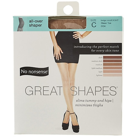 No Nonsense Great Shapes All-Over Shaper Sheer Toe Body Shaping Pantyhose Size C Size C