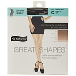 No Nonsense Great Shapes All-Over Shaper Sheer Toe Body Shaping Pantyhose Size C