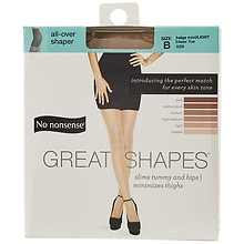 No Nonsense Great Shapes Great Shapes All-Over Shaper Sheer Toe Body Shaping Pantyhose Size B B