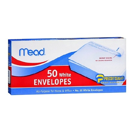 Mead White Envelopes White 4 1/8 x 9 1/2 in (10.4 x 24.1 cm)