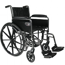 Everest & Jennings Travelers SE Steel Wheelchair with Removable Full Arms and Swing Footrest 18 Inch