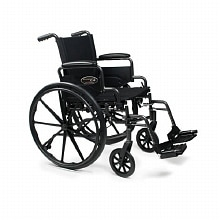 Everest & Jennings Traveler Lightweight Wheelchair with Flip Back Desk Arm & Swing Footrests