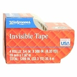Walgreens Invisible Tape 1200 in.