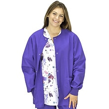 Scrub Jacket Unisex Warm-up with Knit Cuff, Large/Regal Purple