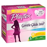 Playtex Gentle Glide Tampons, Unscented Multipack 25 Regular & 25 Super