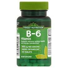 Finest Nutrition B-6 Vitamin 100 mg Dietary Supplement Tablets