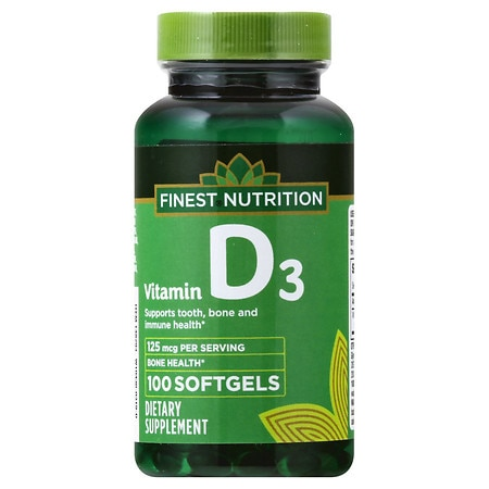 Finest Nutrition D3 Vitamin 5000 IU Dietary Supplement Softgels