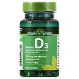 Finest Nutrition D3 Vitamin 2000 IU Dietary Supplement Softgels