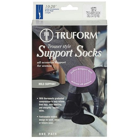 Truform Women's Trouser Style Mild (10-20mm) Support Socks with Knit Rib Pattern Large