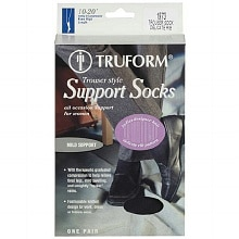 Women's Trouser Style Mild (10-20mm) Support Socks with Knit Rib Pattern, Small Small, Black