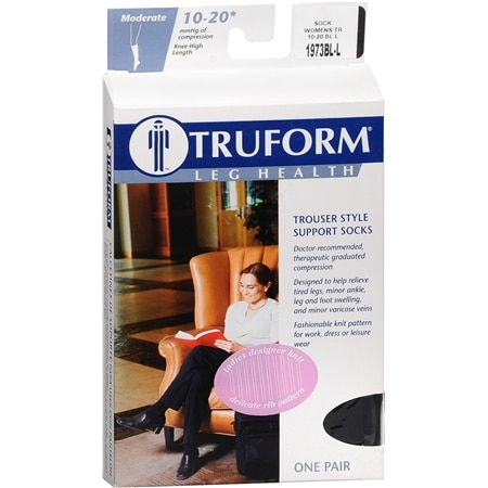 Truform Women's Trouser Style Mild (10-20mm) Support Socks with Knit Rib Pattern L