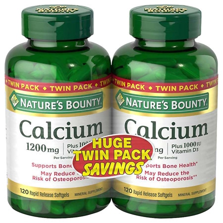 Nature's Bounty Calcium 1200 mg Plus Vitamin D3 Dietary Supplement Softgels Twinpack