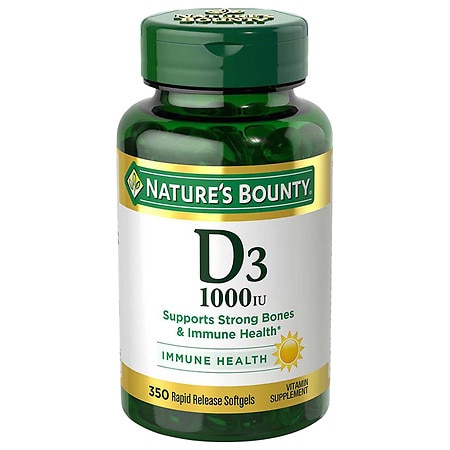 Nature's Bounty D-1000 IU Dietary Supplement Rapid Release Liquid Softgels