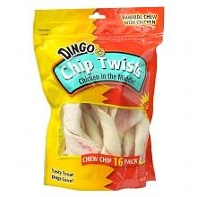 Chip Twists Rawhide Chew Chips 16 Pack Chicken