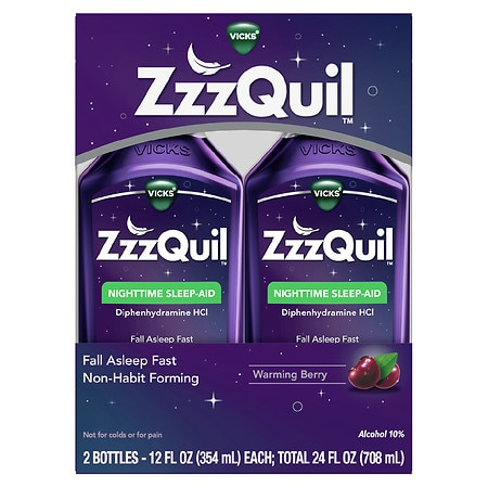 ZzzQuil Nighttime Sleep-Aid Liquid Berry,2 Pack
