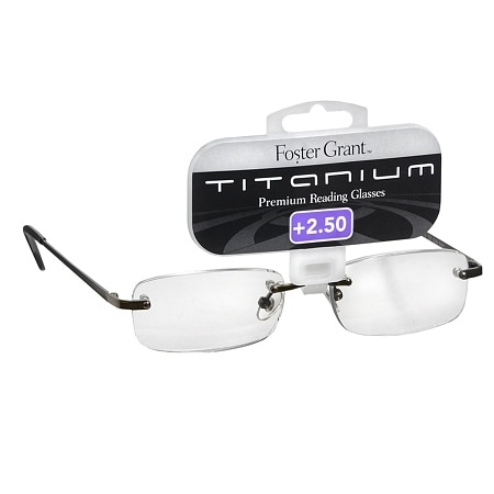Foster Grant Titanium Frameless Premium Reading Glasses T20 +2.50 Stainless Steel