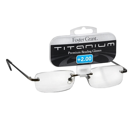 Foster Grant Titanium Frameless Premium Reading Glasses T20 +2.00 Stainless Steel