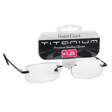 Foster Grant Titanium Frameless Premium Reading Glasses T20 +1.25 Stainless Steel