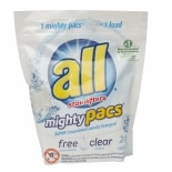 4X Concentrated Laundry Detergent Mighty Pacs Free Clear
