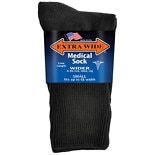 Extra Wide Medical Socks Womens Shoe Sizes 6-11 Wide Black
