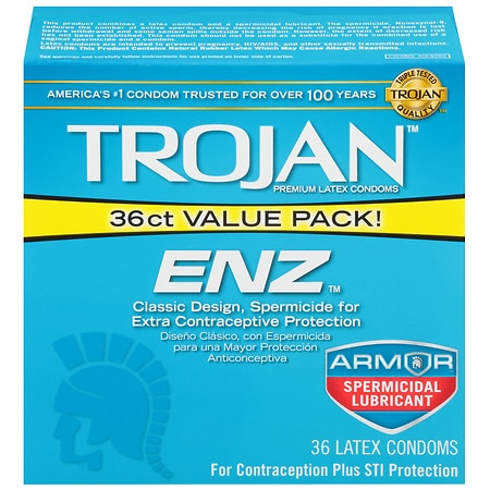 Trojan-Enz Lubricated Latex Condoms, Spermicidal