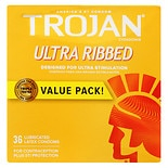 Trojan Ultra Ribbed Stimulations Premium Lubricant Latex Condoms