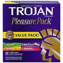 Trojan Lubricated Latex Condoms, Pleasure Pack
