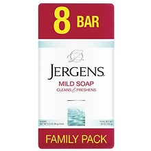 Jergens Mild Soap Bars 8 Pack 3.5 oz White