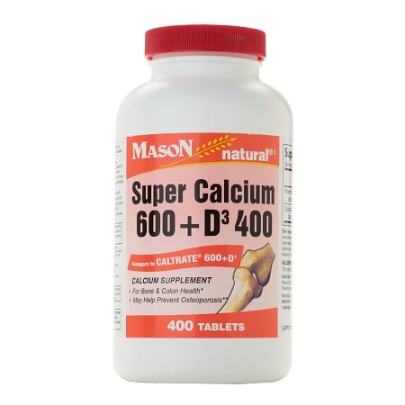 Mason Natural Super Calcium 600 + D3 400, Tablets