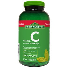 Finest Nutrition Vitamin C with Rose Hips 1000mg, Caplet