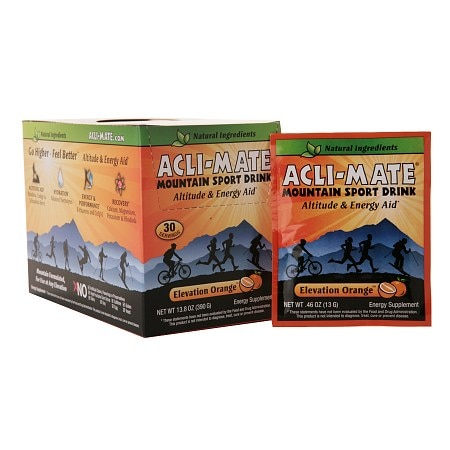 Acli-Mate Mountain Sport Drink Altitude & Energy Aid Packets Orange