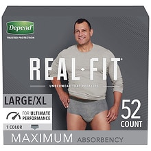 Real Fit Briefs for Men Maximum Absorbency, L/XL