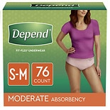 Depend For Women Underwear, Moderate Absorbency, SM - 76 Pack