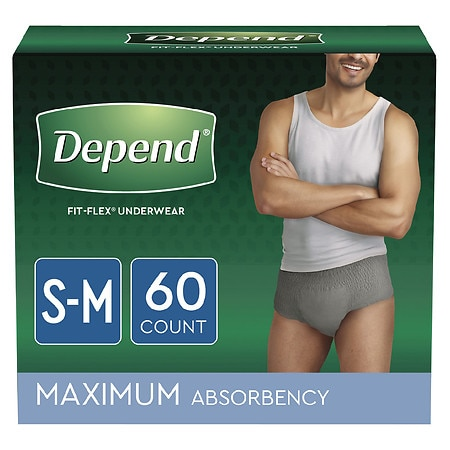 Depend For Men Underwear, Maximum Absorbency, S/M - 60 Pack