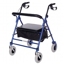 Essential Medical Heavy Duty Four Wheel Walker Blue