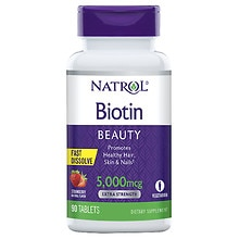 Natrol Biotin 5000mcg Fast Dissolve, Tablets Strawberry