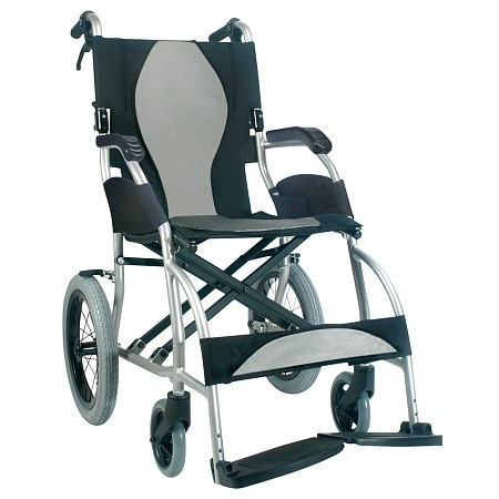 Karman 16 inch Ultra Lightweight Transport Wheelchair with Companion Hill Brakes