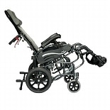 16 inch Tilt in Space Reclining Transport Wheelchair with Elevating Legrest