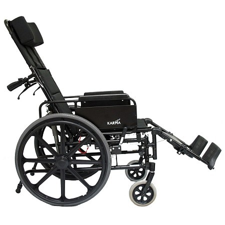Karman 22 inch Lightweight Reclining Wheelchair with Removable Desk Armrest