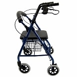 Low Junior Narrow Rollator with Loop Brakes, Padded Seat, and Basket