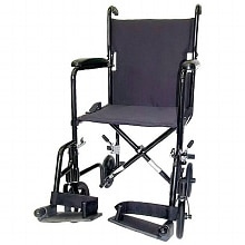 Karman 19 inch 19 lbs. Lightweight Transport Chair with Removable Footrest, Black
