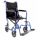 Karman 19 inch 19 lbs. Lightweight Transport Chair with Removable Footrest, Blue