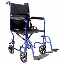 19 inch 19 lbs. Lightweight Transport Chair with Removable Footrest, Blue