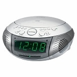 Jensen AM/FM Dual Alarm Clock Radio with Top Loading CD Player JCR-322 Silver