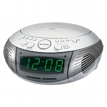 AM/FM Dual Alarm Clock Radio with Top Loading CD Player JCR-322, Silver