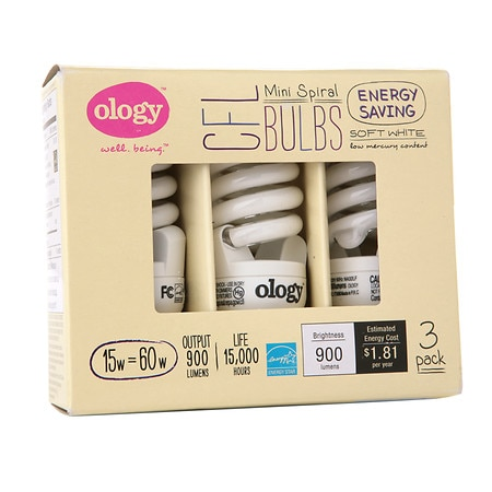 Ology CFL Bulbs Soft White 15 Watt Mini Spiral