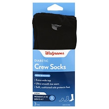 Walgreens Diabetic Crew Socks for Women 6-10 Black